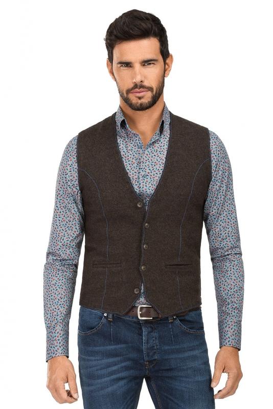 Slim Brown Plain Waistcoat