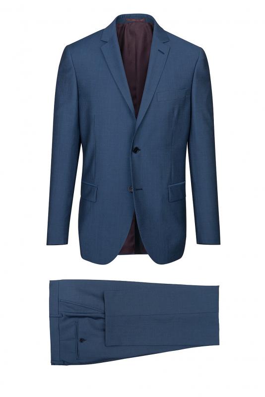 regular blue plain suit