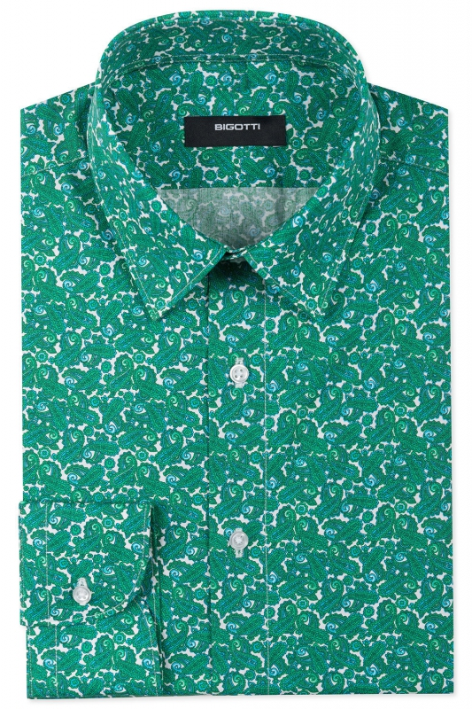 Superslim Green Floral Shirt