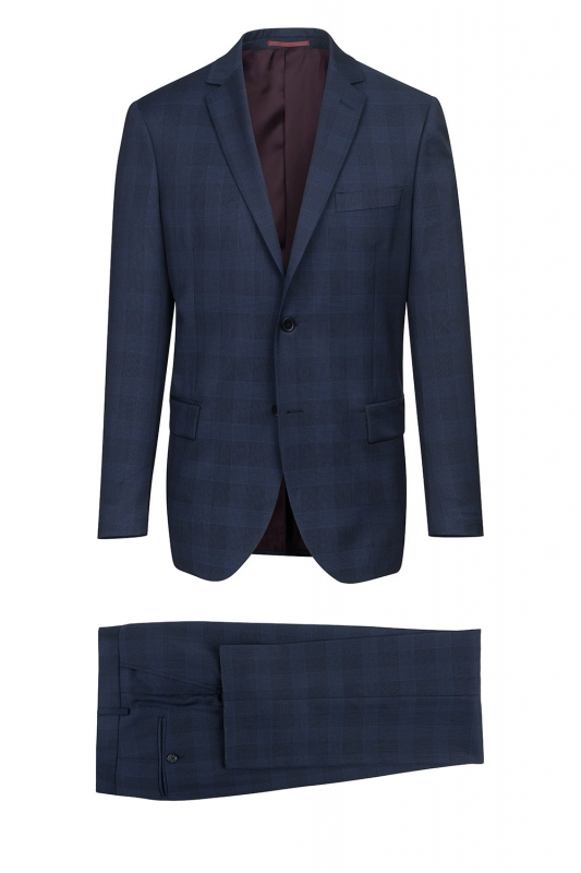 Regular Navy Check Suit