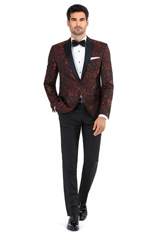 Slim Burgundy Plain Blazer