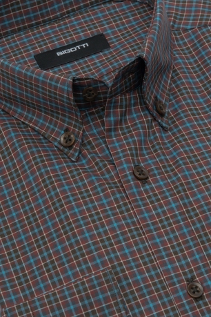 Shaped Brown Check Shirt