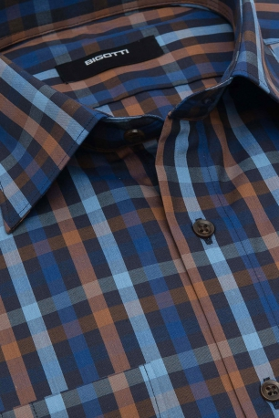 Slim Navy Check Shirt