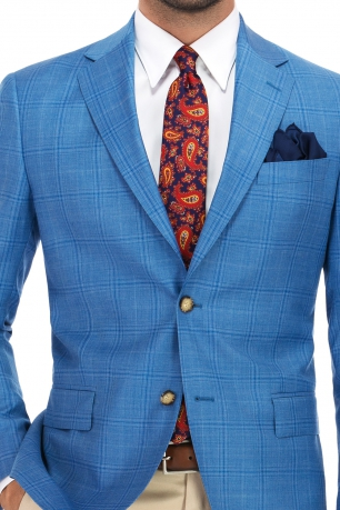 Slim Light blue Check Blazer
