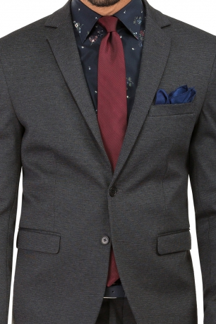 Slim Grey Geometric Suit