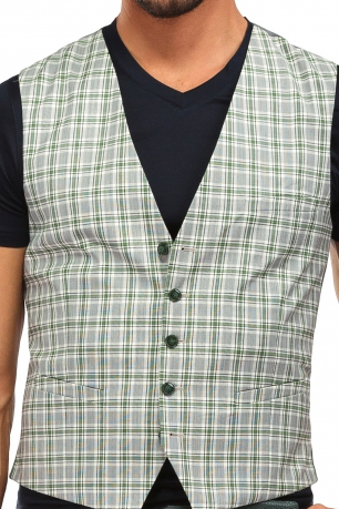 With buttons White Check Waistcoat