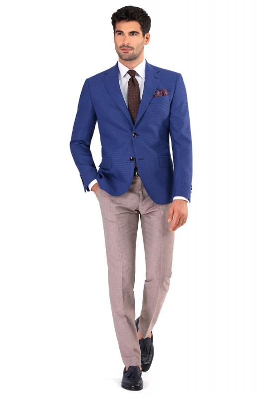 Slim Brown Geometric Trouser