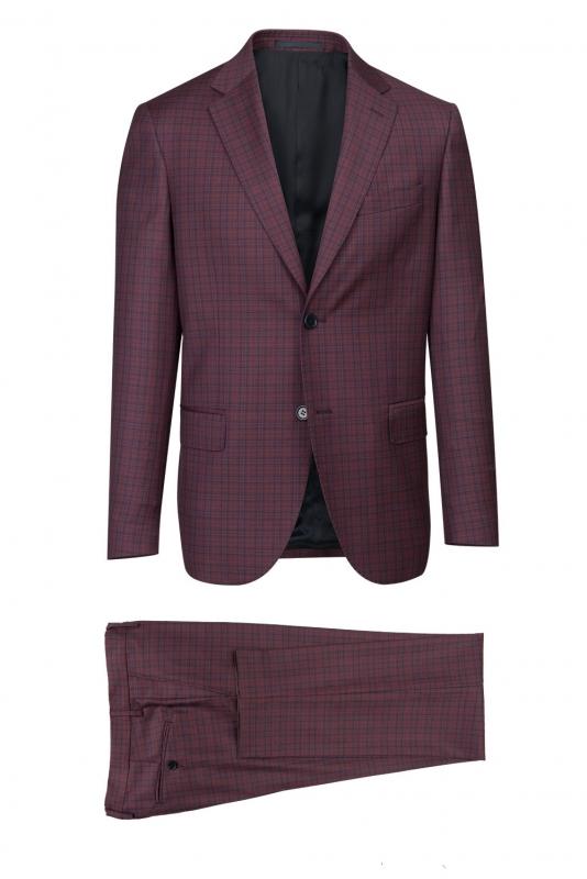 Slim Burgundy Check Suit