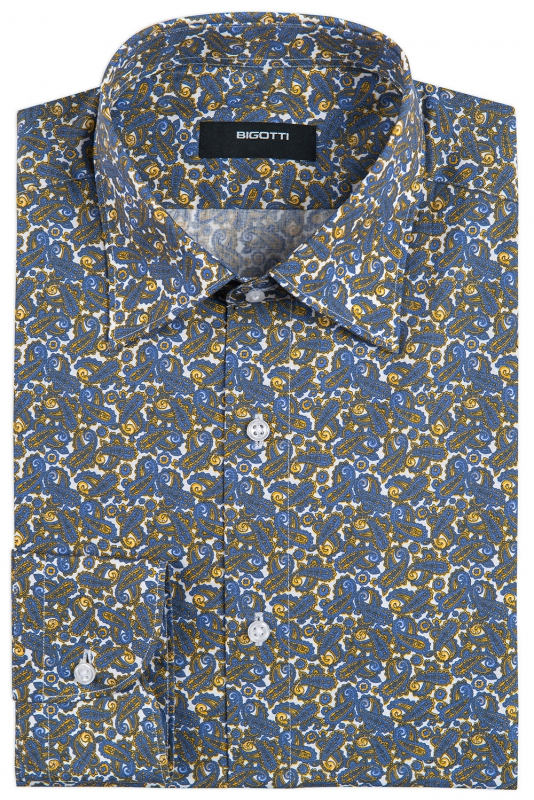 Shaped Blue Floral Shirt