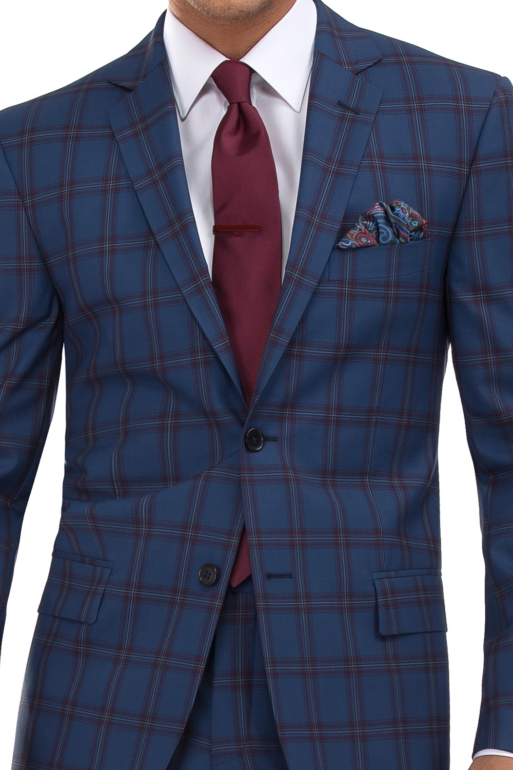 Slim Blue Check Suit 1
