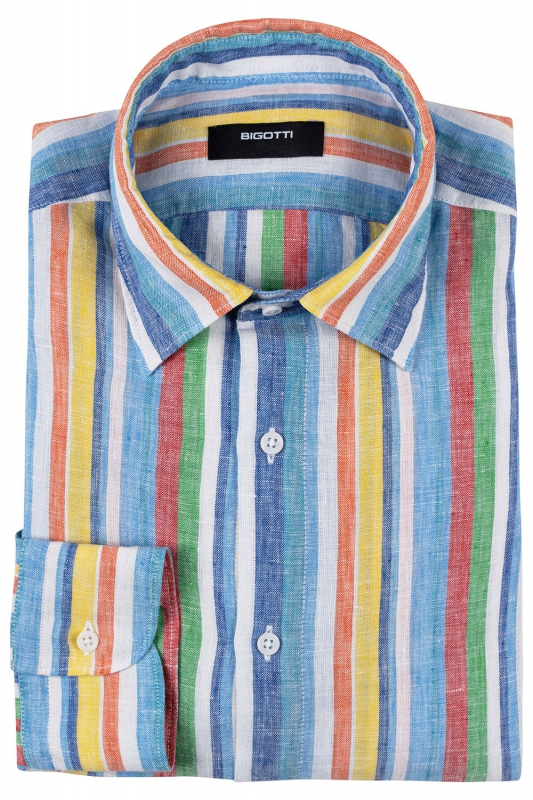 Shaped Multi-colored Stripe Shirt