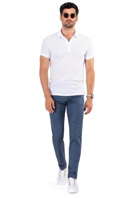 Slim Light blue Plain Trouser