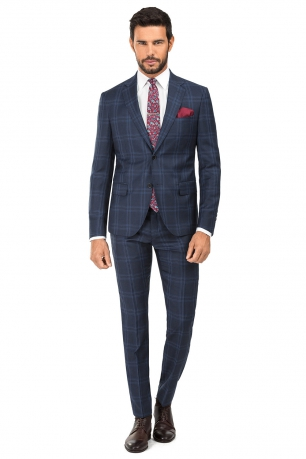 Slim Blue Check Suit