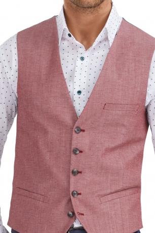 Slim Red Plain Waistcoat