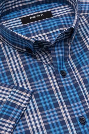 Shaped Navy Check Shirt
