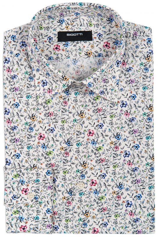 Superslim Beige Floral Shirt