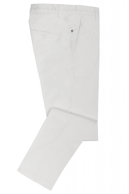 Slim White Plain Trouser