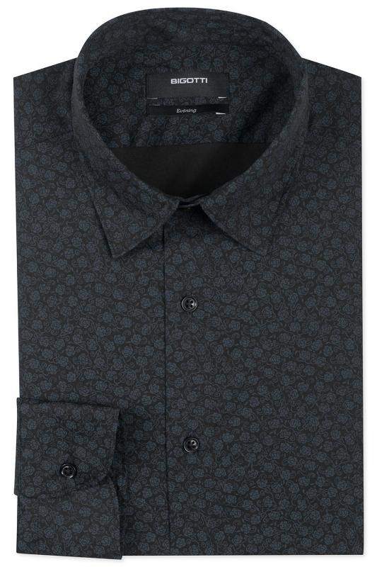 Slim Black Floral Shirt