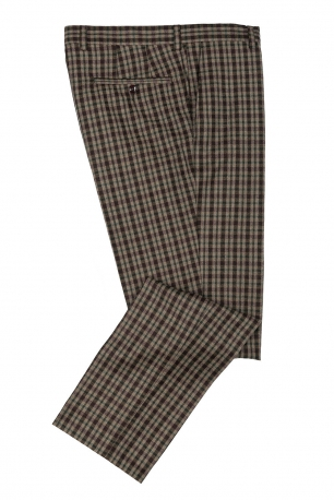 Superslim Beige Check Trouser