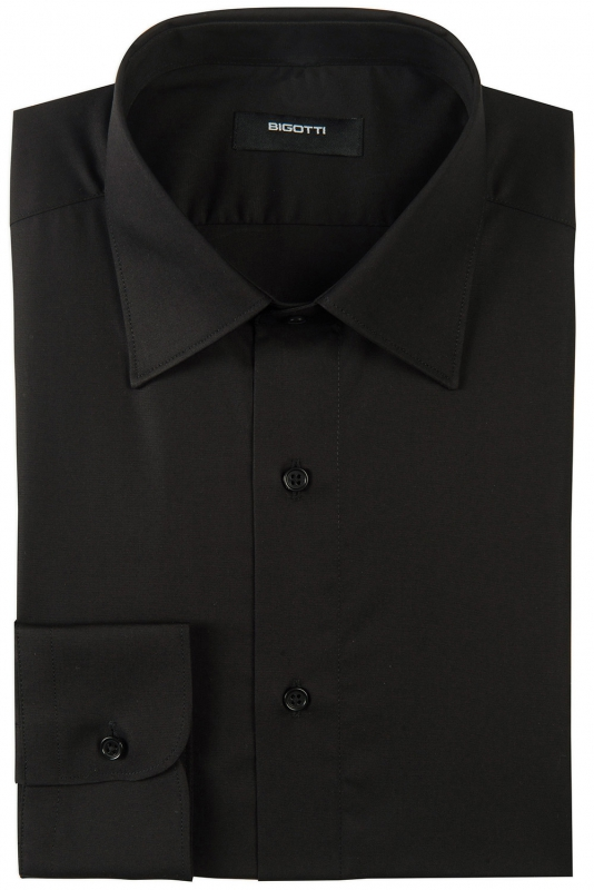 Slim body Black Plain Shirt