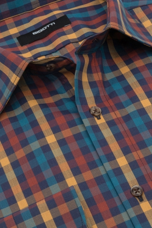 Superslim Navy Check Shirt