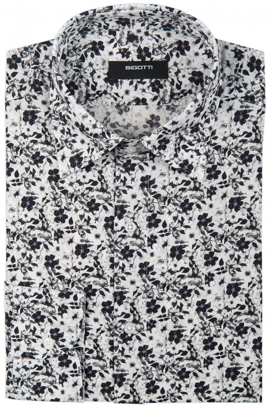 Slim White Floral Shirt