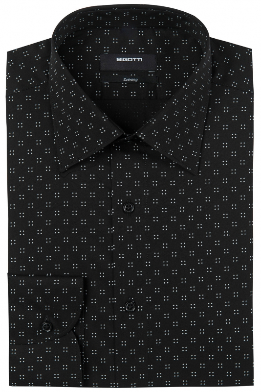 Slim Black Geometric Shirt