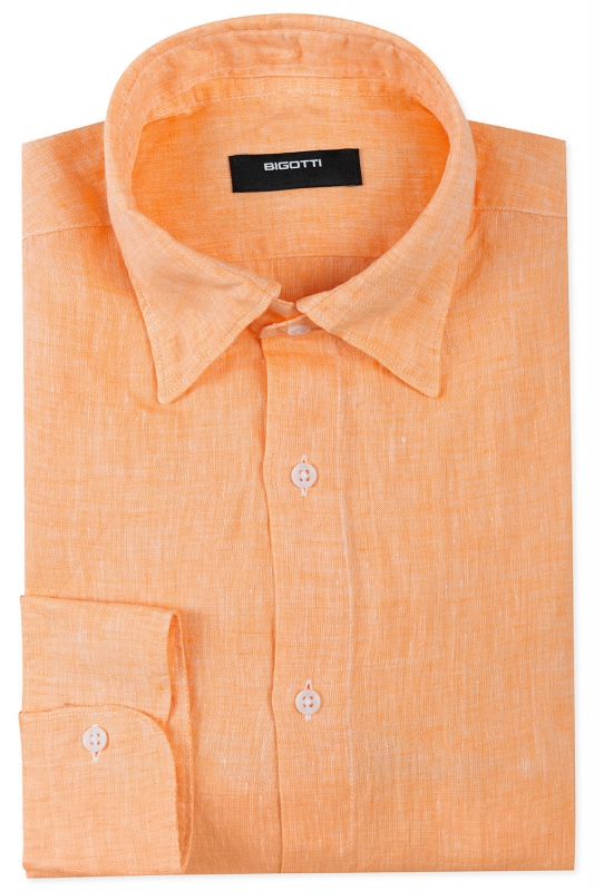 Slim body Orange Plain Shirt