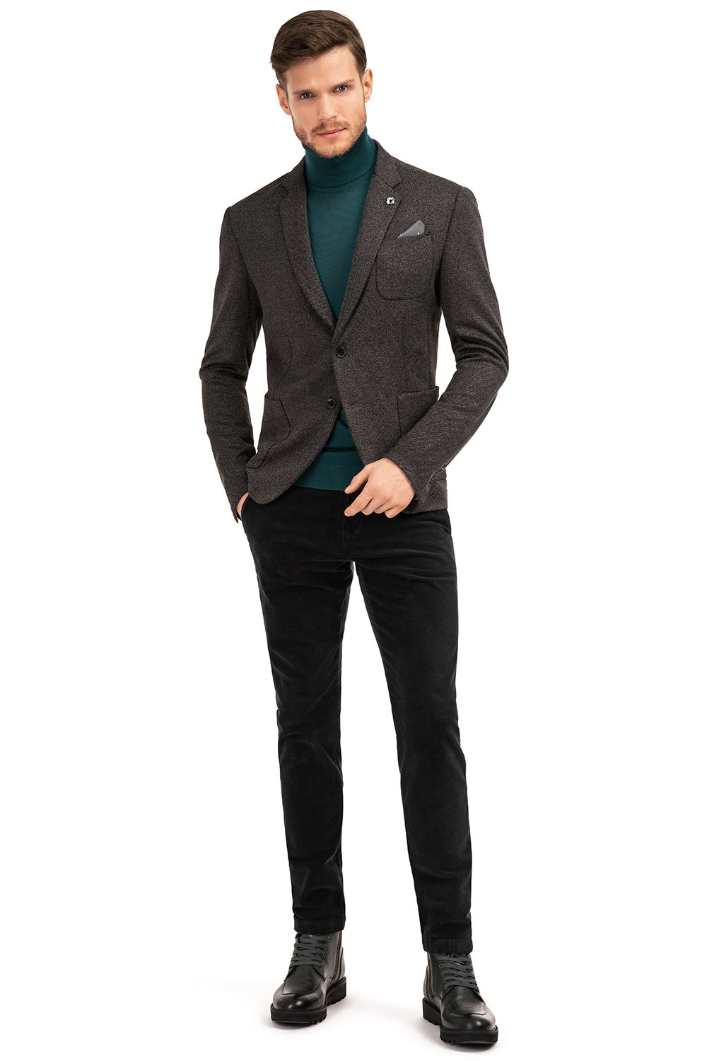 Slim Grey Plain Blazer 0