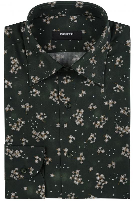 Superslim Green Floral Shirt