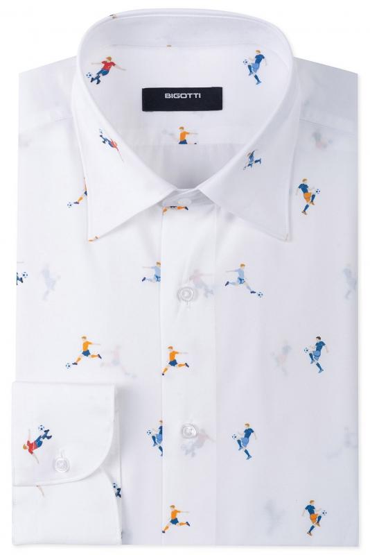 Shaped White Geometric Shirt