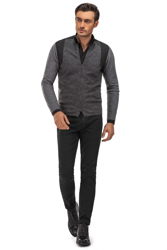 Slim Black Plain Trouser