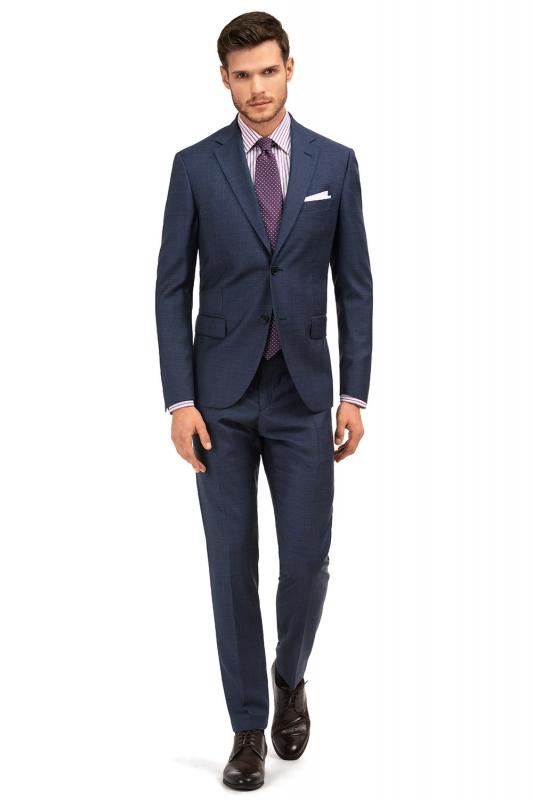 Slim Blue Check Suit