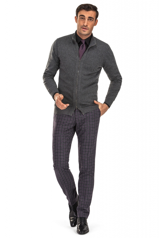 Superslim Grey Check Trouser