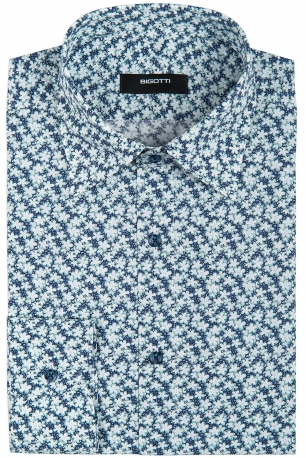 Slim Blue Floral Shirt