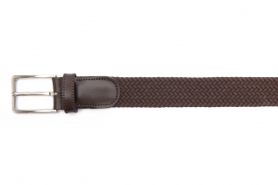 Belt Brown Elastic textile and leather