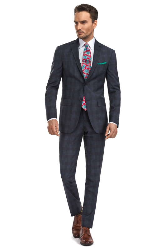 Superslim Navy Check Suit