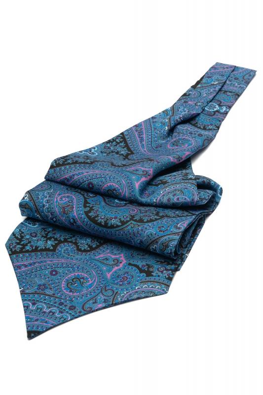 Blue Floral Ascot tie