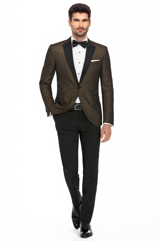 Slim Brown Plain Blazer