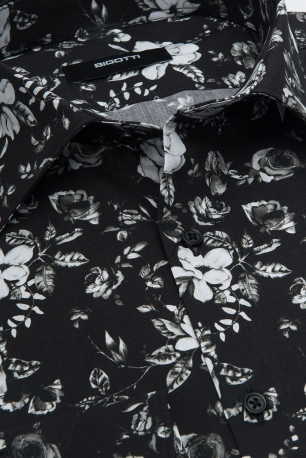 Superslim Black Floral Shirt