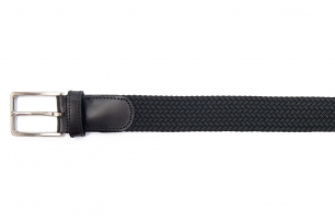 Belt Black Elastic textile and leather