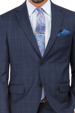 Slim Navy Check Suit