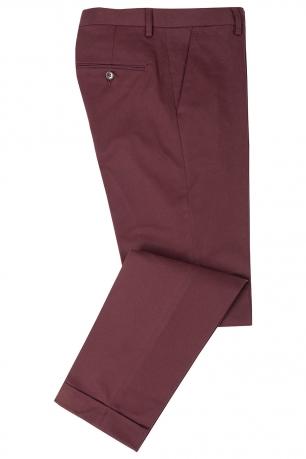 Slim Burgundy Plain Trouser