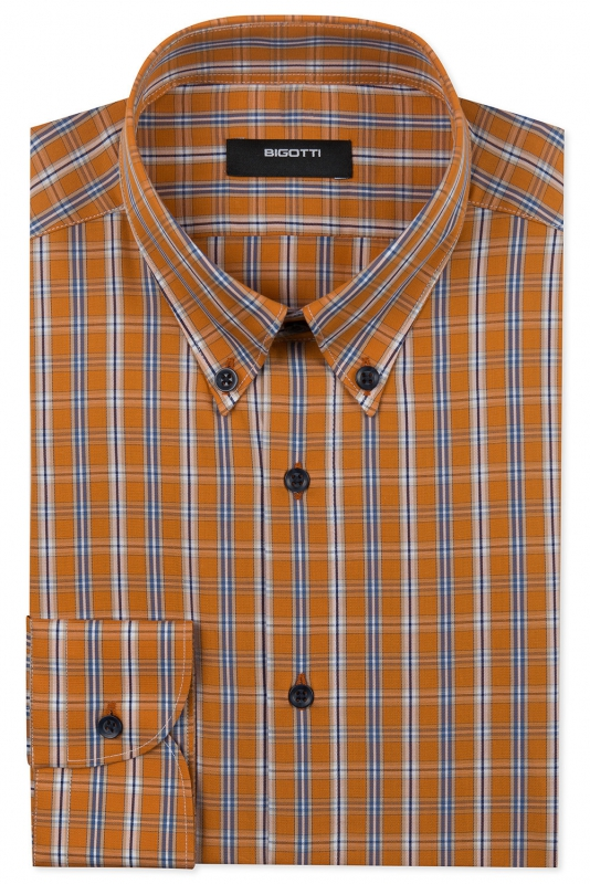 Shaped Orange Check Shirt