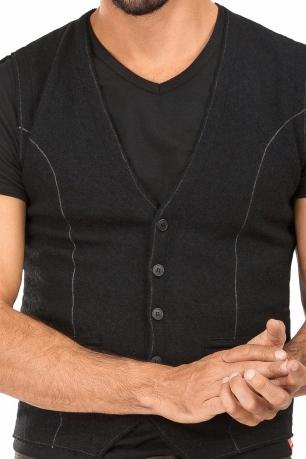 Slim Black Plain Waistcoat