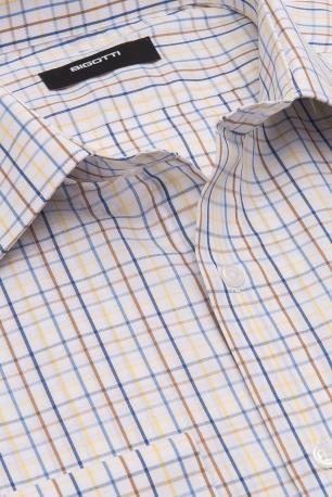 Slim White Check Shirt