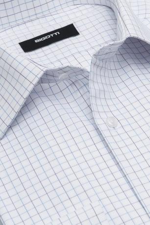 Shaped White Check Shirt