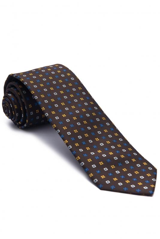 Brown Geometric Tie