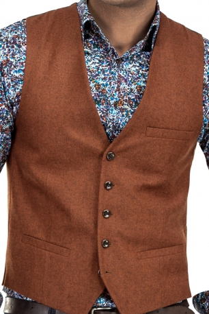 Clini din stofa Orange Plain Waistcoat