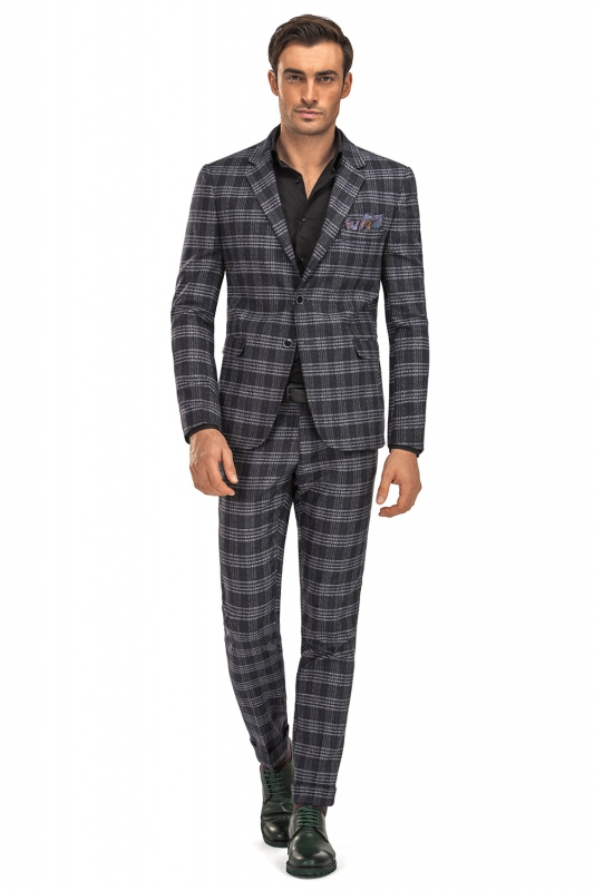 Slim Black Check Suit